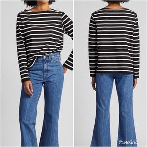Uniqlo Striped Boatneck Long Sleeve Top Medium